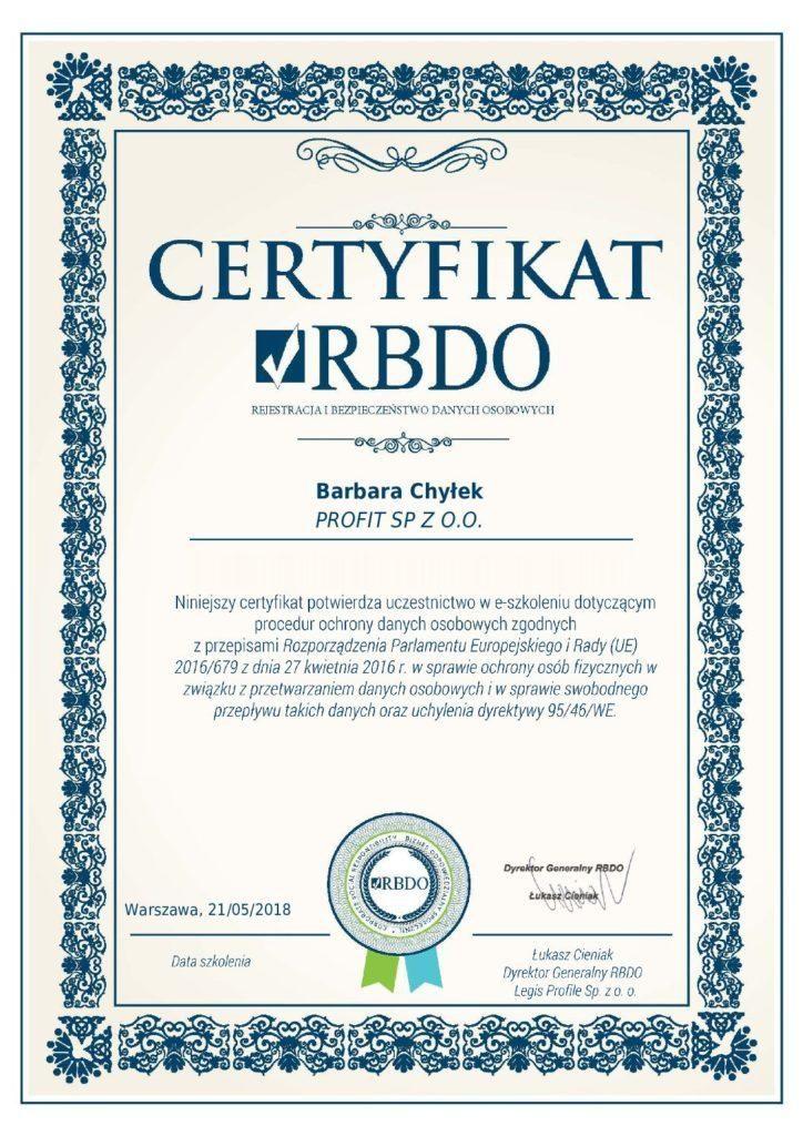 certyfikat Barbara Chyłek