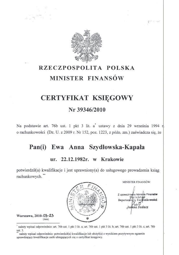 certyfikat księgowy Szydłowska-Kapała