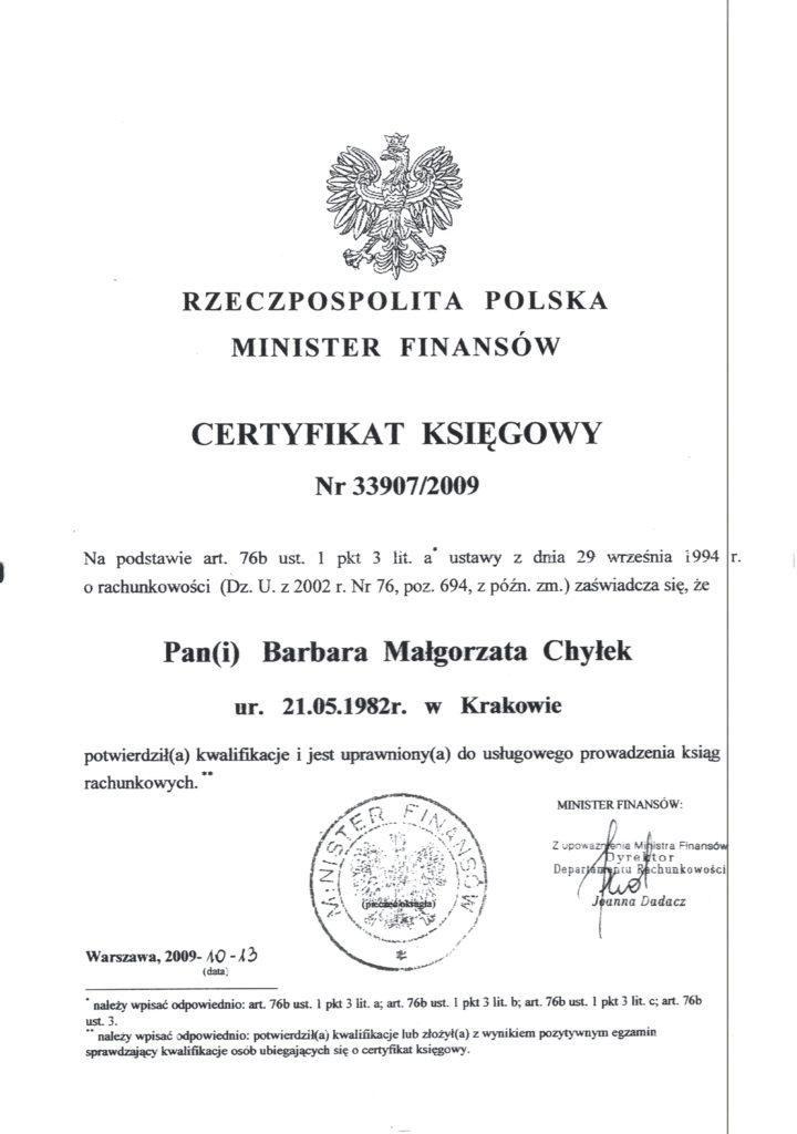 Certyfikat Małgorzata Chyłek