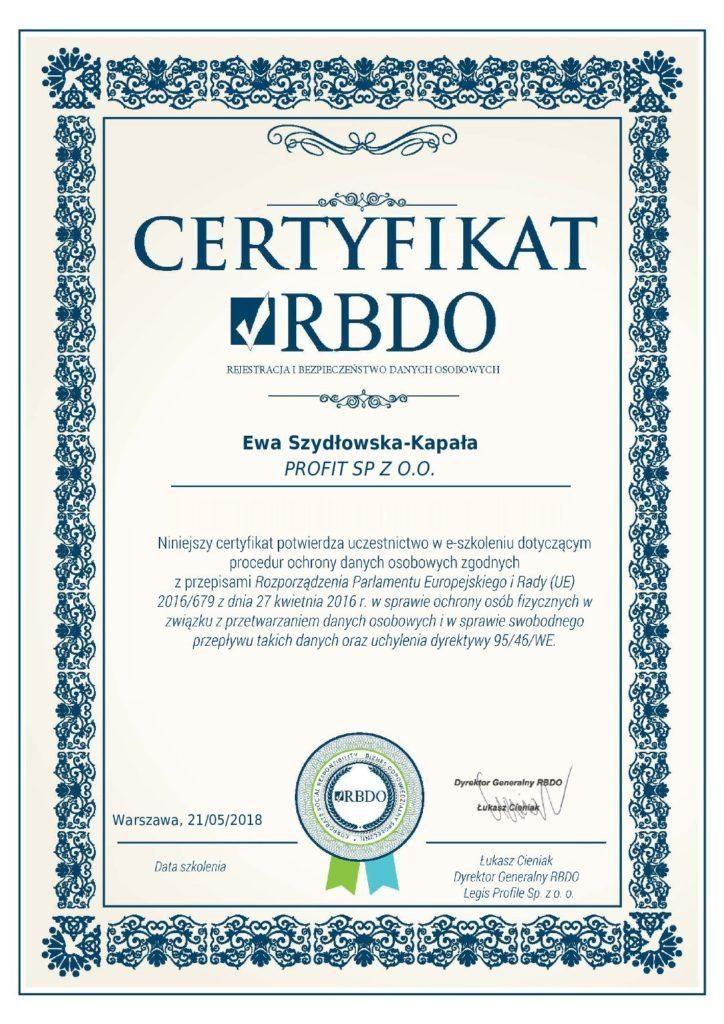 certyfikat Ewa Szydłowska Kapała